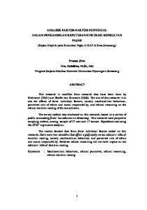 ANALISIS FAKTOR-FAKTOR INDIVIDUAL DALAM PENGAMBILAN KEPUTUSAN ETIS OLEH KONSULTAN PAJAK (Kajian Empiris pada Konsultan Pajak di KAP di Kota Semarang)