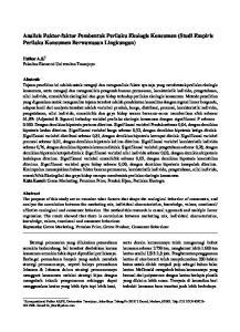 Analisis Faktor-faktor Pembentuk Perilaku Ekologis Konsumen (Studi Empiris Perilaku Konsumen Berwawasan Lingkungan)