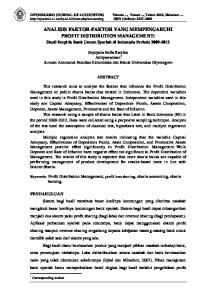 ANALISIS FAKTOR-FAKTOR YANG MEMPENGARUHI PROFIT DISTRIBUTION MANAGEMENT: