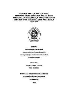 ANALISIS FAKTOR-FAKTOR YANG MEMPENGARUHI STRUKTUR MODAL PADA PERUSAHAAN MANUFAKTUR YANG TERDAFTAR DI BURSA EFEK INDONESIA (BEI) PADA TAHUN
