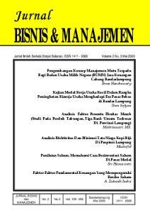 Analisis Faktor Penentu Ekuitas Merek (Studi Pada Produk Tabungan, Tiga Bank Umum Terbesar Di Provinsi Lampung) Mahrinasari MS
