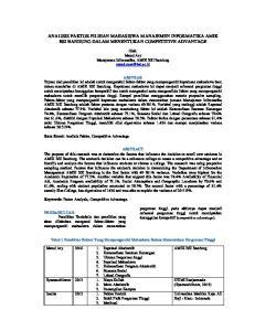 ANALISIS FAKTOR PILIHAN MAHASISWA MANAJEMEN INFORMATIKA AMIK BSI BANDUNG DALAM MENENTUKAN COMPETITIVE ADVANTAGE
