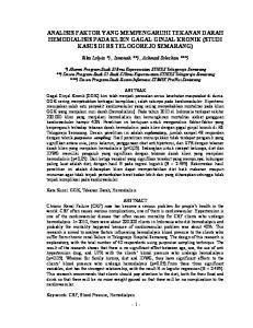 ANALISIS FAKTOR YANG MEMPENGARUHI TEKANAN DARAH HEMODIALISIS PADA KLIEN GAGAL GINJAL KRONIK (STUDI KASUS DI RS TELOGOREJO SEMARANG)