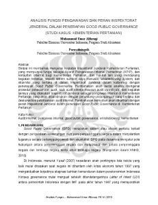 ANALISIS FUNGSI PENGAWASAN DAN PERAN INSPEKTORAT JENDERAL DALAM PENERAPAN GOOD PUBLIC GOVERNANCE (STUDI KASUS: KEMENTERIAN PERTANIAN)