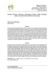 Analisis Gender: Membaca Perempuan Dalam Hadis Misoginis (Usaha Kontekstualisasi Nilai Kemanusiaan)