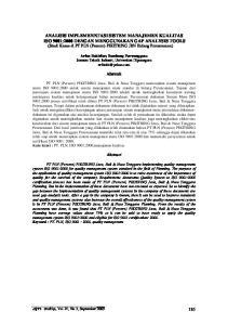 ANALISIS IMPLEMENNTASI SISTEM MANAJEMEN KUALITAS ISO 9001:2000 DENGAN MENGGUNAKAN GAP ANALYSIS TOOLS