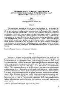 ANALISIS KAUSALITAS PENGELUARAN SEKTOR PUBLIK DENGAN PEREKONOMIAN DAERAH PROVINSI SUMATERA BARAT (Pendekatan Model Vector Autoregression, VAR)