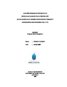 ANALISIS KEBIJAKAN PEMBIAYAAN PENGADAAN BARANG PADA PROYEK EPC (STUDI KASUS PADA KERISI DEVELOPMENT PROJECT CONOCOPHILLIPS INDONESIA INC