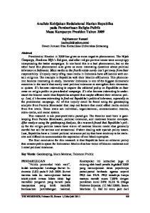 Analisis Kebijakan Redaksional Harian Republika pada Pemberitaan Religio-Politik Masa Kampanye Presiden Tahun 2009