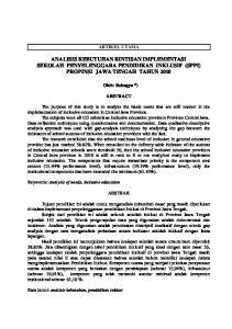 ANALISIS KEBUTUHAN RINTISAN IMPLEMENTASI SEKOLAH PENYELENGGARA PENDIDIKAN INKLUSIF (SPPI) PROPINSI JAWA TENGAH TAHUN 2010