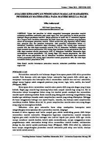 ANALISIS KEMAMPUAN PEMECAHAN MASALAH MAHASISWA PENDIDIKAN MATEMATIKA PADA MATERI REGULA FALSI