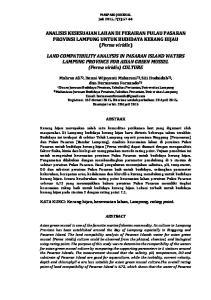 ANALISIS KESESUAIAN LAHAN DI PERAIRAN PULAU PASARAN PROVINSI LAMPUNG UNTUK BUDIDAYA KERANG HIJAU (Perna viridis)