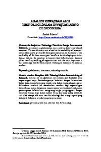 ANALISIS KEWAJIBAN ALIH TEKNOLOGI DALAM INVESTASI ASING DI INDONESIA *