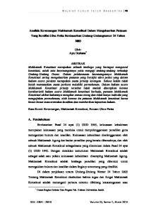 Analisis Kewenangan Mahkamah Konstitusi Dalam Mengeluarkan Putusan Yang Bersifat Ultra Petita Berdasarkan Undang-Undangnomor 24 Tahun 2003