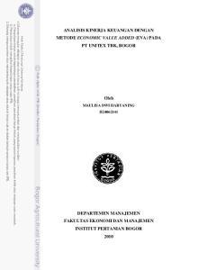 ANALISIS KINERJA KEUANGAN DENGAN METODE ECONOMIC VALUE ADDED (EVA) PADA PT UNITEX TBK, BOGOR. Oleh MAULISA DWI HARYANING H