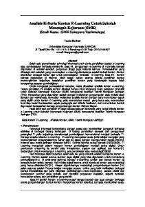 Analisis Kriteria Konten E-Learning Untuk Sekolah Menengah Kejuruan (SMK) (Studi Kasus : SMK Sukapura Tasikmalaya)