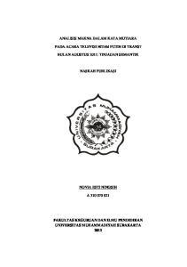 ANALISIS MAKNA DALAM KATA MUTIARA PADA ACARA TELEVISI HITAM PUTIH DI TRANS7 BULAN AGUSTUS 2011: TINJAUAN SEMANTIK NASKAH PUBLIKASI