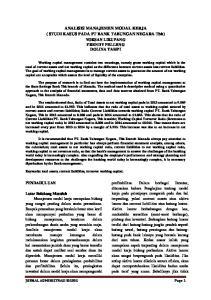 ANALISIS MANAJEMEN MODAL KERJA ( STUDI KASUS PADA PT BANK TABUNGAN NEGARA Tbk) YOKSAN LIKUPANG FRENDY PELLENG DOLINA TAMPI