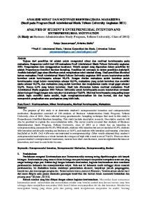 ANALISIS MINAT DAN MOTIVASI BERWIRAUSAHA MAHASISWA (Studi pada Program Studi Administrasi Bisnis Telkom University Angkatan 2011)