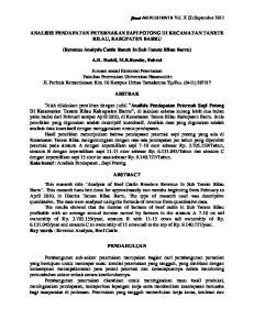 ANALISIS PENDAPATAN PETERNAKAN SAPI POTONG DI KECAMATAN TANETE RILAU, KABUPATEN BARRU. (Revenue Analysis Cattle Ranch In Sub Tanete Rilau Barru)