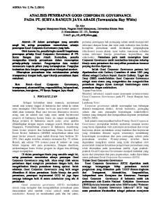 ANALISIS PENERAPAN GOOD CORPORATE GOVERNANCE PADA PT. SURYA BANGUN JAYA ABADI (Terwaralaba Ray White)