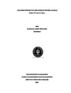ANALISIS PENERAPAN ORGANISASI PEMBELAJARAN PADA PT. JAVA CELL. Oleh RAHMAD ARIEF PRIYONO H