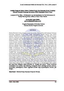 Analisis Pengaruh Faktor-Faktor Motivasi Kerja Dan Kepuasan Kerja Terhadap Kinerja Penyuluh Keluarga Berencana (PKB) Kabupaten Flores Timur