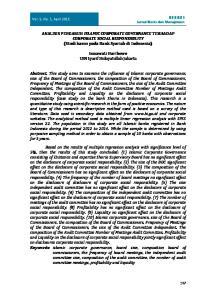 ANALISIS PENGARUH ISLAMIC CORPORATE GOVERNANCE TERHADAP CORPORATE SOCIAL RESPONSIBILITY (Studi kasus pada Bank Syariah di Indonesia)
