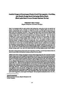 Analisis Pengaruh Kecukupan Modal, Kredit Bermasalah, Likuiditas, Dan Marjin Bunga Bersih