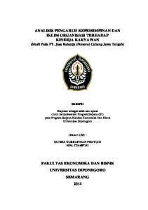 ANALISIS PENGARUH KEPEMIMPINAN DAN IKLIM ORGANISASI TERHADAP KINERJA KARYAWAN (Studi Pada PT. Jasa Raharja (Persero) Cabang Jawa Tengah)