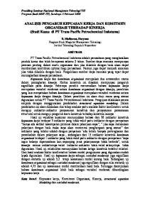ANALISIS PENGARUH KEPUASAN KERJA DAN KOMITMEN ORGANISASI TERHADAP KINERJA (Studi Kasus di PT Trans Pacific Petrochemical Indotama)