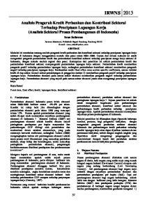 Analisis Pengaruh Kredit Perbankan dan Kontribusi Sektoral Terhadap Penciptaan Lapangan Kerja (Analisis Sektoral Proses Pembangunan di Indonesia)