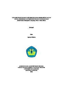 ANALISIS PENGAWASAN DISTRIBUSI PUPUK BERSUBSIDI DALAM UPAYA PENINGKATAN PRODUKTIVITAS TANAMAN PADI (Studi Kasus Kabupaten Lampung Timur Tahun 2015)
