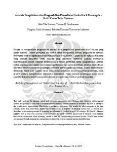 Analisis Pengelolaan dan Pengendalian Persediaan Usaha Kecil Menengah Studi Kasus Toko Sinamar