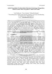 Analisis Pengendalian Persediaan Bahan Baku Kursi Lipat dengan Menggunakan Metode Economic Order (Eoq) pada PT. Chitose Tbk Cimahi
