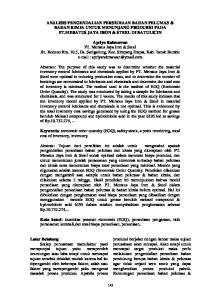 ANALISIS PENGENDALIAN PERSEDIAAN BAHAN PELUMAS & BAHAN KIMIA UNTUK MENUNJANG PRODUKSI PADA PT.MERATUS JAYA IRON & STEEL DI BATULICIN