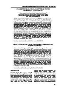 ANALISIS PERENCANAAN LABA DARI INVESTASI PROYEK THE JIMBARAN VIEW CONDOTEL PROFIT PLANNING ANALYSIS OF THE JIMBARAN VIEW CONDOTEL S PROJECT INVESTMENT