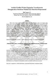 Analisis Prediksi Waktu Kegagalan Transformator Menggunakan Distribusi Weibull dan Distribusi Eksponensial