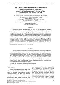 Analisis Preferensi Konsumsi Ikan Menghadapi Natal 2015 Dan Tahun Baru (Siti Hajar Suryawati, et. al)