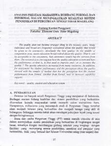 ANALISIS PRESTASI MAHASISWA DI BIDAI'G FORMAL DAN INT'ORMAL DAI-AM MTIIINGKATKAI\ KUALITAS SISTEM PENDIDIKAN DI PERGI]RUAN TINGGI TIDAR MAGELANG