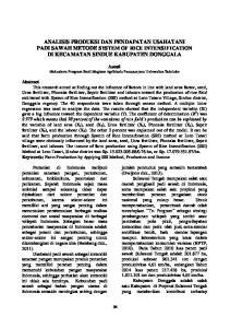 ANALISIS PRODUKSI DAN PENDAPATAN USAHATANI PADI SAWAH METODE SYSTEM OF RICE INTENSIFICATION DI KECAMATAN SINDUE KABUPATEN DONGGALA
