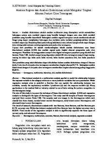 Analisis Regresi dan Analisis Diskriminan untuk Mengukur Tingkat Akurasi Feature Citra Termogram
