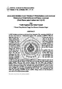 ANALISIS RESIKO DAN TINGKAT PENGEMBALIAN SAHAM TERHADAP PORTOFOLIO OPTIMAL SAHAM (Studi Kasus pada 8 saham dari LQ-45)