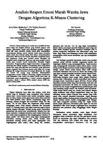 Analisis Respon Emosi Marah Wanita Jawa Dengan Algoritma K-Means Clustering