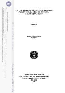ANALISIS RISIKO PRODUKSI SAYURAN ORGANIK PADA PT MASADA ORGANIK INDONESIA DI BOGOR JAWA BARAT