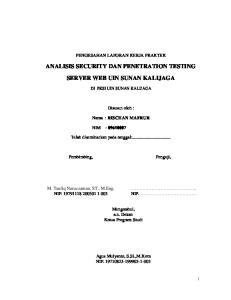 ANALISIS SECURITY DAN PENETRATION TESTING SERVER WEB UIN SUNAN KALIJAGA