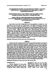 ANALISIS SEKUEN INTRON 1 SAMPAI SEBAGIAN EKSON 4 DARI GEN FERITIN2 PADA TIGA GENOTIPE PADI (Oryza sativa L.) LOKAL INDRAGIRI HILIR, RIAU