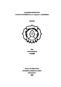 ANALISIS SITOGENETIKA TANAMAN MANGGIS (Garcinia mangostana L.) JOGOROGO SKRIPSI. Oleh Arini Sarasmiyarti H