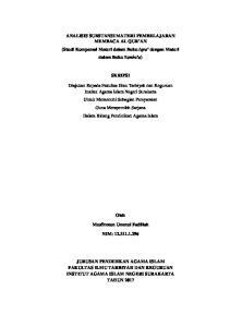 ANALISIS SUBSTANSI MATERI PEMBELAJARAN MEMBACA AL QUR AN (Studi Komparasi Materi dalam Buku Iqra dengan Materi dalam Buku Yanbu a) SKRIPSI