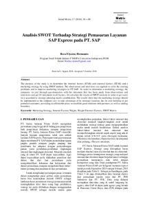Analisis SWOT Terhadap Strategi Pemasaran Layanan SAP Express pada PT. SAP